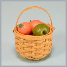 """Dollhouse Miniature Woven Straw Basket with Fruit 1"""" Scale"""