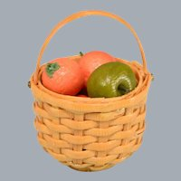 "Dollhouse Miniature Woven Straw Basket with Fruit 1"" Scale"