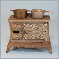 "Antique Dollhouse Miniature Cast Iron Queen Cook Stove Large 1"" Scale"