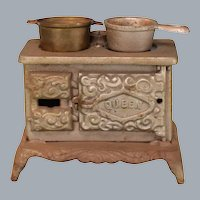 "Antique Dollhouse Miniature Cast Iron Queen Cook Stove Large 1"" Scale"