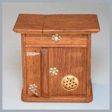"Antique Dollhouse Oak Ice Box Large 1"" Scale Late 1800s"