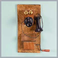 """Vintage Dollhouse Wall Telephone 1920s – 1930s 1"""" Scale"""