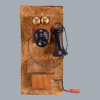 "Vintage Dollhouse Wall Telephone 1920s – 1930s 1"" Scale"