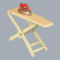 "Kilgore Cast Iron Dollhouse Ironing Board and Iron 1920s – 1930s 3/4"" Scale"