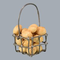 "Vintage Dollhouse Miniature Wire Basket with Potatoes 1"" Scale"