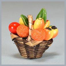 """Vintage Miniature Dollhouse Fruit Basket 1"""" Scale"""