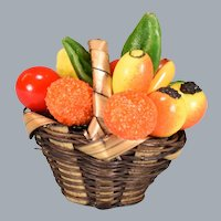 "Vintage Miniature Dollhouse Fruit Basket 1"" Scale"