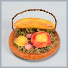"Vintage Miniature Dollhouse Fruit on Wooden Bowl 1950s – 1960s Large 1"" Scale"