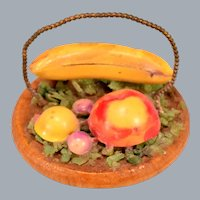 "Vintage Miniature Dollhouse Fruit on Wooden Bowl 1950s – 1960s Large 1"" Scale"