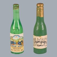 "Vintage Miniature Dollhouse Champagne & Wine Bottles 1"" Scale"