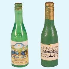 "Vintage Miniature Dollhouse Champagne & Wine Bottles 1"" Scale"