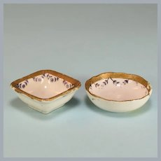 """Antique Pair of Dollhouse Miniature Porcelain Bowls Large 1"""" Scale"""
