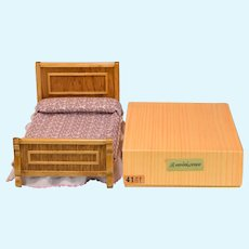 "Reminiscence Miniature Golden Oak Bed Mint in Box 1980s 1"" Scale"