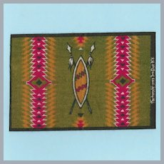 "Antique Miniature Tobacco Flannel Rug Native American Design Advertising Premium Early 1900s Small 1"" Scale"