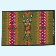 """Antique Miniature Tobacco Flannel Rug Native American Design Advertising Premium Early 1900s Small 1"""" Scale"""
