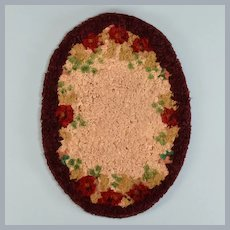 "Antique Dollhouse Miniature Oval Silk Hooked Rug Early 1900s 1"" Scale"