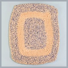"Vintage Dollhouse Miniature Hand-Crocheted Rectangle Rug 1"" Scale"