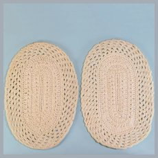 "Pair of Vintage Dollhouse Miniature Hand-Crocheted Cream Oval Rugs 1"" Scale"