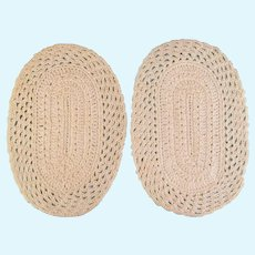 """Pair of Vintage Dollhouse Miniature Hand-Crocheted Cream Oval Rugs 1"""" Scale"""