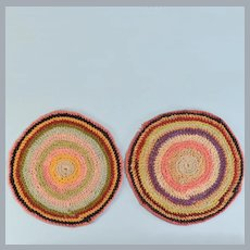 "Pair of Vintage Dollhouse Miniature Hand-Crocheted Multi-Color Round Rugs 1"" Scale"