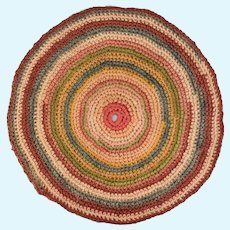 """Vintage Dollhouse Hand-Crocheted Round Rug in Multi-Colors 1"""" Scale"""