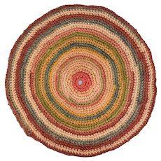 "Vintage Dollhouse Hand-Crocheted Round Rug in Multi-Colors 1"" Scale"