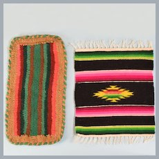 "Vintage Dollhouse Miniature Hand-Crocheted and Woven Rectangle Rugs in Vibrant Southwestern Colors 1"" Scale"