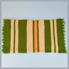 "Vintage Dollhouse Miniature Hand-Woven Rectangle Striped Wool Rug Large 1"" Scale"