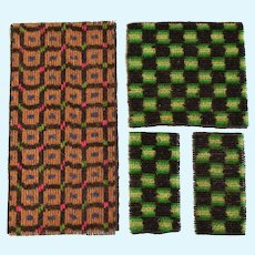 """Antique German Dollhouse Miniature Rugs from Upholstery Fabric Early 1900s Small 1"""" Scale"""