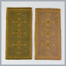"Pair of Dollhouse Miniature Cardstock Print Rugs 1920s – 1930s Small 1"" Scale"