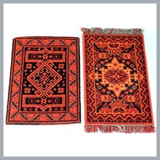 "Two Vintage Austrian Dollhouse Wool Rugs by Mini Mundus 1980s Large 1"" Scale"