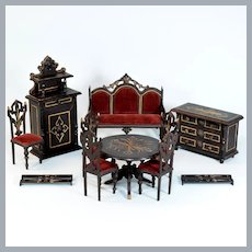 "Antique German Black Forest Dollhouse Parlor Suite by B. Harrass Late 1800s Large 1"" Scale"