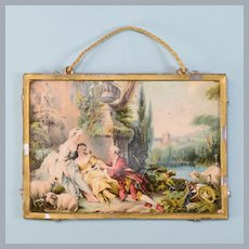 "Antique German Miniature Fragonard Lithograph with Gilt Soft Metal Frame Early 1900s 1"" Scale"