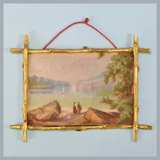"Antique Faux Bamboo Ormolu Frame with Landscape Print by Erhard & Söhne Late 1800s Large 1"" Scale"