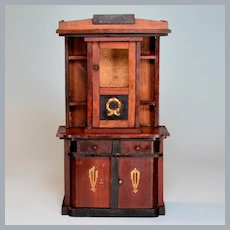 "Antique German Dollhouse Miniature Buffet Cabinet by Eppendorfer & Nacke Early 1900s Large 1"" Scale"