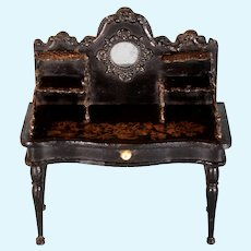 """Antique Dollhouse Miniature German Boulle Desk by Gerhard Söhlke Mid 1800s Large 1"""" Scale"""