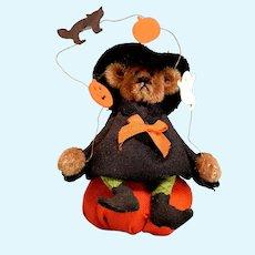 "Vintage Artisan Miniature Halloween Teddy Bear 1990s 1"" Scale"