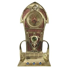 Art Nouveau Brass and Copper Salon Clock