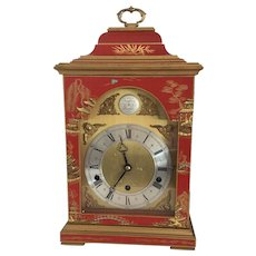 Red Chinoiserie Elliott Three Train Bracket Clock