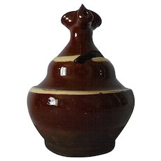 Antique Rattling Box Bank Slip Glaze Pottery 19th Century Mennonite