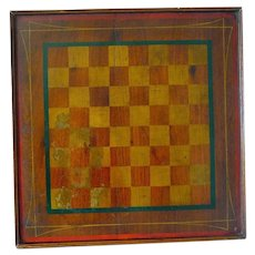 Late 19th Century Game Board Gameboard Square Red and Gold
