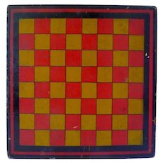 19th Century Game Board Gameboard Square Red and Gold