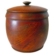 Turned Lidded Paint Decorated 19th Century Treen Canister