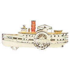 Painted Cast Iron Paddlewheel Floor Toy New Orleans Circa 1890