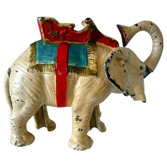 Painted Cast Iron Mechanical Pull Tail Elephant  Bank American 1920's