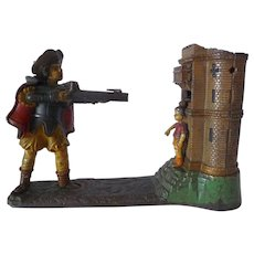 Painted Cast iron William Tell Mechanical Bank Stevens 1896