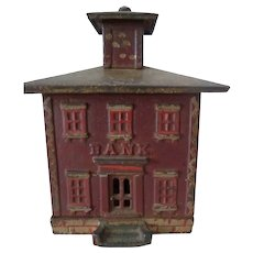 Cast Iron Penny Cupola Bank 19th C