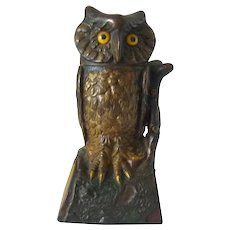 19th Century Painted Cast Iron Mechanical Bank Owl Turns Head