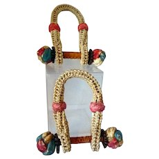 Patriotically Painted Sailor Made Miniature Sea Chest Rope Beckets 19th C