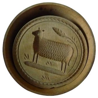 19th Century Hand Carved Small Sheep Wood Butter Press, Mold Stamp Print